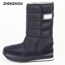 Big size New 2016 women Winter Boots Shoes Snow Shoes Black warm Warm Waterproof Boots Cotton