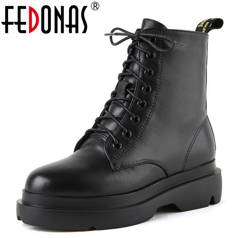 FEDONAS Women Ankle Boots Fashion Lace Up Brand Solid Color Ladies Shoes Woman 2018 High Heels Short Motorcycle BootsFEDONAS Women Ankle Boots Fashion Lace Up Brand Solid Color Ladies Shoes Woman 2018 High Heels Short Motorcycle Boots
