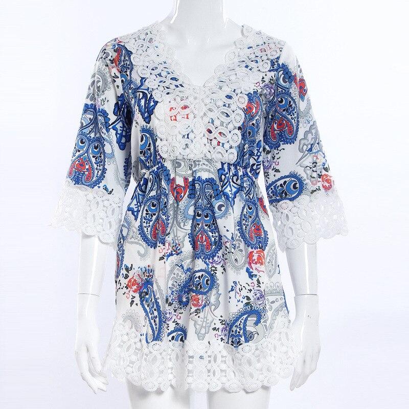 2018 Sexy Deep V neck Casual Slim Beach Summer Sundress Vestidos Fashion Women Elegant Vintage Sweet Lace Dress in Dresses from Women 39 s Clothing
