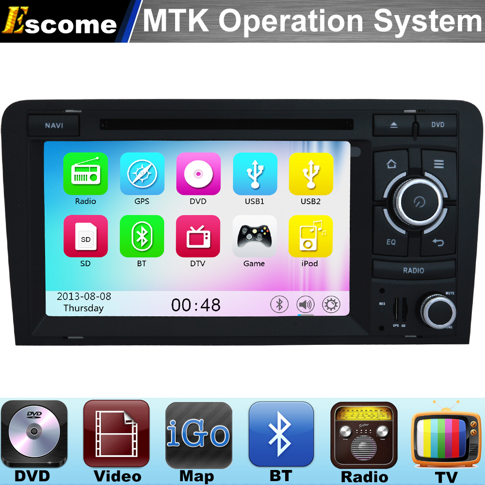 MTK3360 Car DVD Player For AUDI A3 2003-2011 Audi R3 Audi RS3 with 800MHz CPU Dual Core Bluetooth Radio GPS