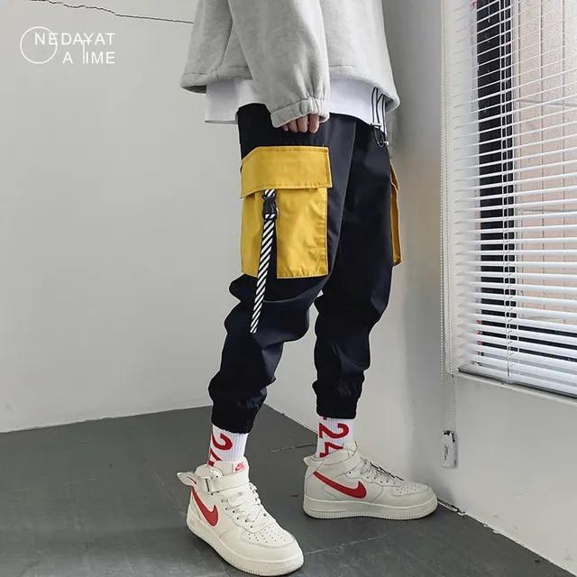 2019 Men's Streetwear Joggers Pants Hip Hop Patchwork Design Jogger Pant Men Casual Harajuku Cargo Trousers Sweatpants
