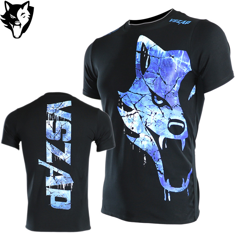 VSZAP Fire And Ice MMA Bulking Sport Shirt Muay Thai Fitness Box Built To Fight T-Shirt Boxing T Shirt Fitness Workout Jerseys