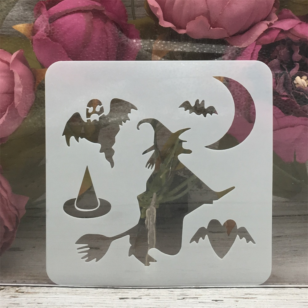 13*13cm Witch Bat Moon Magic Halloween DIY Layering Stencils Painting Scrapbook Coloring Embossing Album Decorative Template