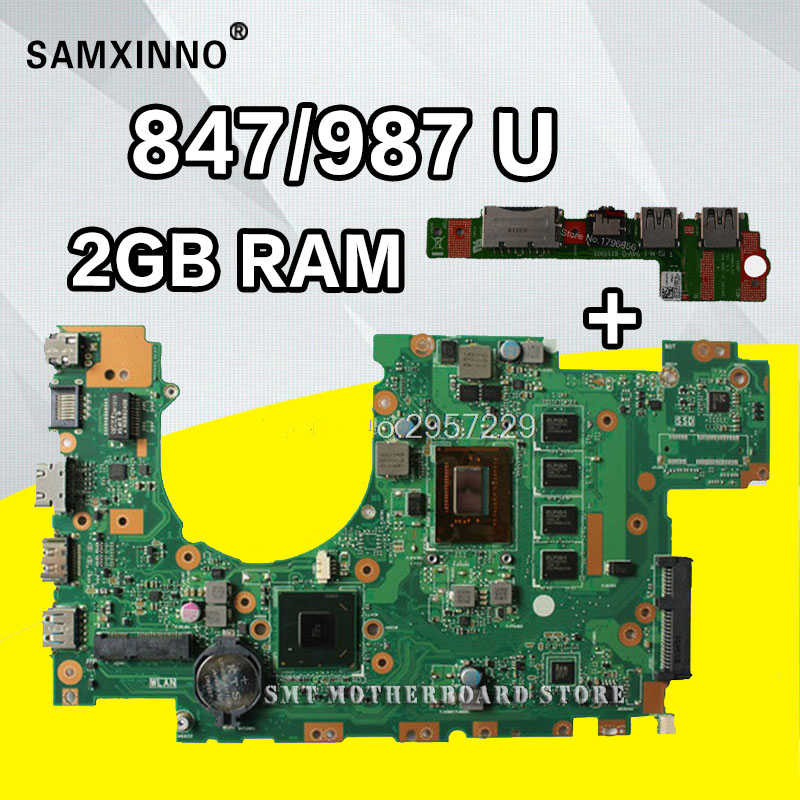 Send board+X402CA Motherboard 847/987U 2GB For ASUS X402C X402CA X502C laptop Motherboard X402CA Mainboard X402CA Motherboard