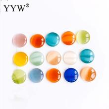 30pcs Natural Stone Cabochon Beads 10mm 12mm Diy Material Jewellry Sexy Round Cat Eyes Cameo Flat Back