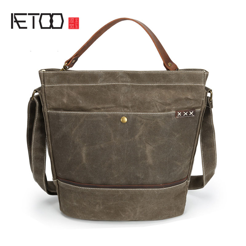 AETOO Retro Waterproof Oil Wipes Canvas Leather Men Shoulder Bag Casual Male Messenger Bag Handbag