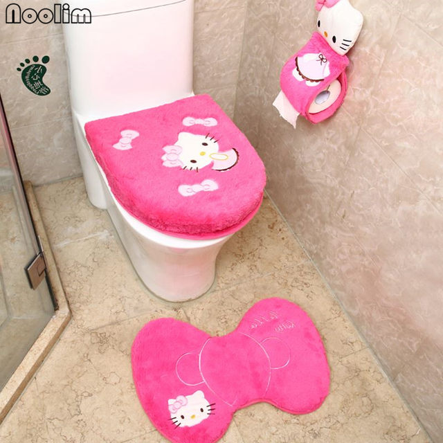 4pcs Set Hello Kitty Bathroom Toilet Seat Cover Wc Bath Mat Holder Closestool Lid Christmas Home Decor