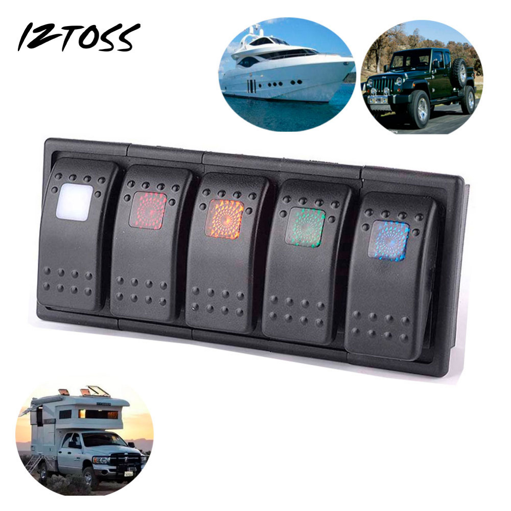 Iztoss 5 Led Color Bar Rocker Switch Panel Arb Carling Style Type 3 Wiring Diagram Pins Dc 12v 24v With Clip Holder In Car Switches Relays From Automobiles Motorcycles
