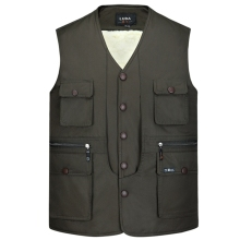 b New autumn and winter mens vest plus velvet warm cotton multi-pocket thick