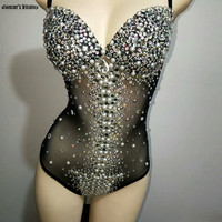 Sexy Elastic Fringe Leotard Spandex One Piece Rhinestones Costume Stage Performance Dance Wear Singer Pole dancing Bodysuit New