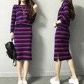 Novo 2017 moda primavera listrado sweater terno com saia 2 peça conjunto terno feito malha pullover top de culturas e saia set vestido de fato de treino