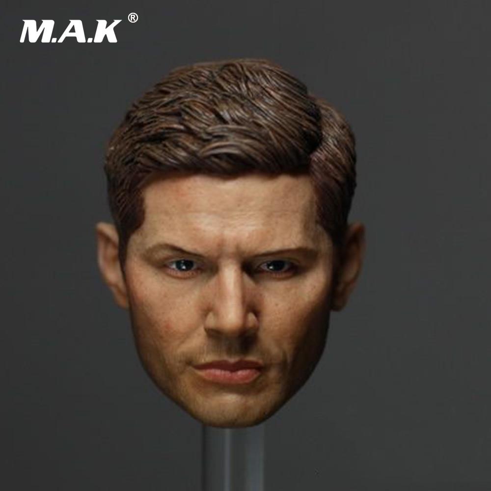 "1:6 man head sculpt supernatural dean winchester jensen ackles type  headsculpt for 12"" male action figure body"
