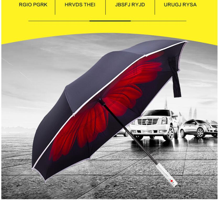 36502ae820f7 US $21.4 14% OFF|2017 New Creative LED Inverted Travel Reverse Umbrella  Cars Warning with Flashlight for Night Safe Gifts SOS umbrella-in Umbrellas  ...