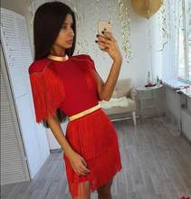 Hot Sale Bodycon Bandage Dress Women Vestidos Verano 2019 Summer Sexy Tassel Black Red Celebrity Party Dresses(China)