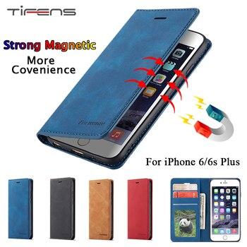 82def8ad598 Funda de cuero de lujo para iPhone 6 6 s Plus 6 splus cartera magnética  fuerte Flip tarjetero soporte de protección estuche de iPhone 6 plus