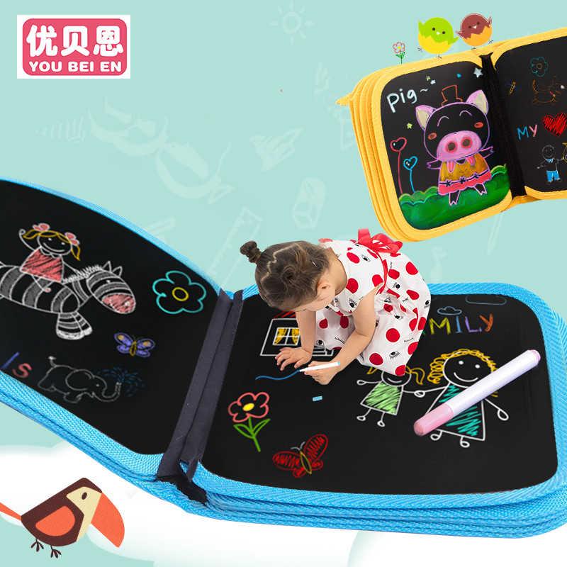 2019 Pvc Anak Portabel Kapur Papan Menggambar Buku Menggambar Papan dengan Air Kapur Buku Mewarnai Diy Papan Tulis Lukisan edu Mainan