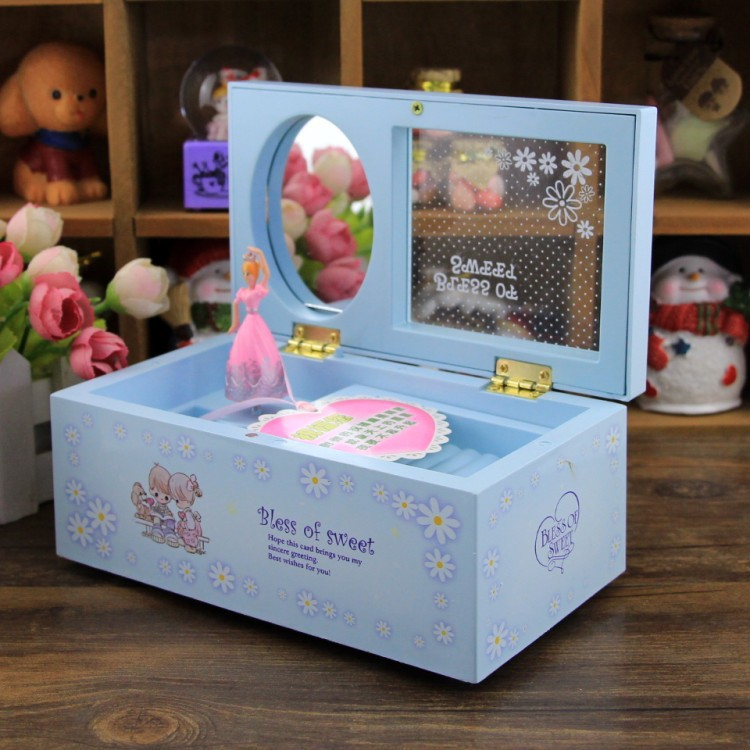 2017 Lovely Rotating Dance Girl Music Box Creative Jewelry Box for children Present Music Boxes With Mirror Girl Birthday Gift