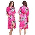 Noiva Do Casamento Da Dama de honra de Cetim de seda Robe Kimono Floral Roupão Longo Noite Robe Roupão De Banho Roupão Para As Mulheres Da Moda 010407