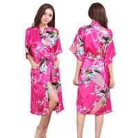 d97ba93a128b Silk Satin Wedding Bride Bridesmaid Robe Floral Bathrobe Long Kimono Night  Robe Bath Robe Fashion Dressing. Raso di seta ...