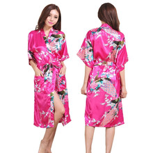 Silk Satin Wedding Bride Bridesmaid Robe Floral Bathrobe Long Kimono Night Robe Bath Robe Fashion Dressing Gown For Women 010407(China)