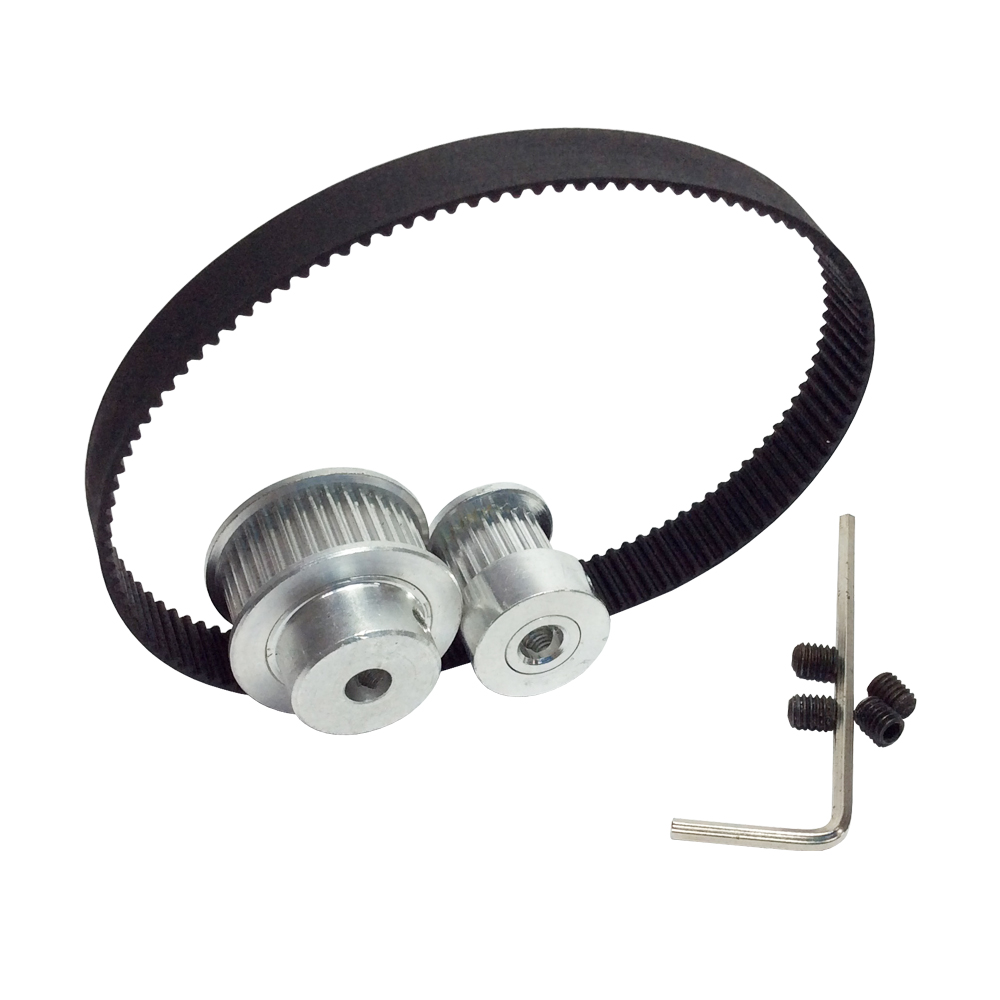 GT2 Timing Belt Closed Loop Length 180mm Width 9mm and 2GT Timing Pulley 16/32 Teeth Shaft Center Distance 66mm [ lock ] side press the switch 10mmx10mm shaft length 9mm