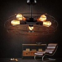 מאוורר תקרת תאורה תעשייתית מנורת אמנות בר אורות אדיסון הנורה תקרת סלון יצירתי אור מתקן תאורת הבית
