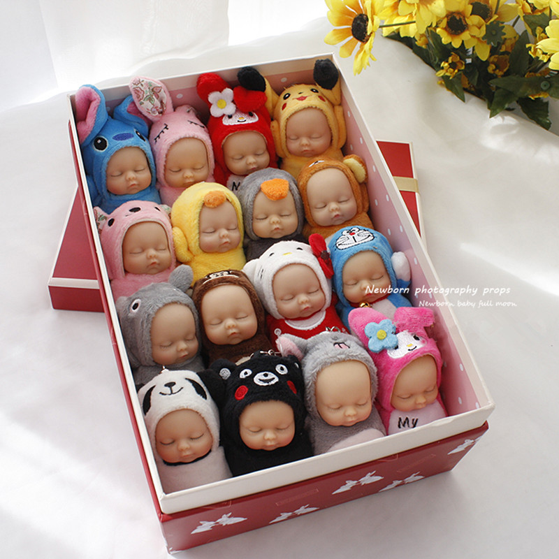 Newborn photography props cute animal dolls baby photos with placating full moon photo AIDS photography accessory