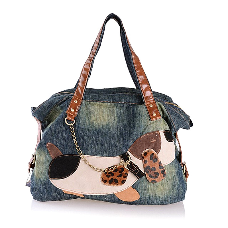 Large capacity denim tote bags high quality casual big blue jeans shoulder bags with cute animal