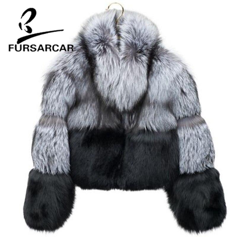 FURSARCAR New Style Natural Real Fur Coat For Women Luxury Warm Fox Fur Coat With Fur Collar Winter Short Style Fox Fur Jacket