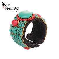 WEIXY Jewelry Women Bangles Bracelets With Green Stones Wide Thick Handmade Rope Charm Accessories Bracelet Gift