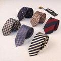 Marca de lujo de Los Hombres Rayados Corbata Populares Ocasional Jacquard de Poliéster Flaco Corbata Gravata Corbata de Boda Del Novio Corbata