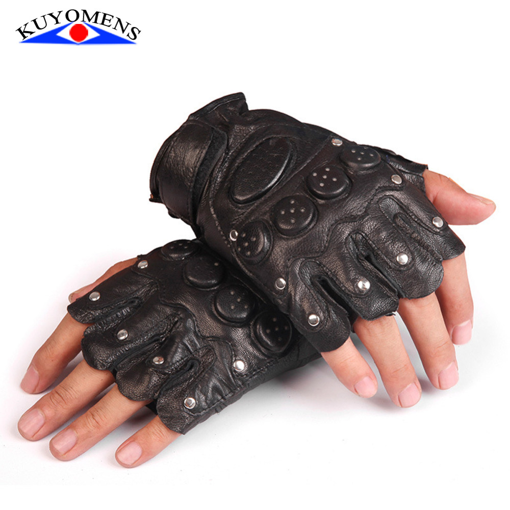 Fingerless leather gloves mens accessories - Summer Men And Women Fingerless Gloves Wrist Half Finger Glove Unisex Adult Fingerless Mittens Real Genuine