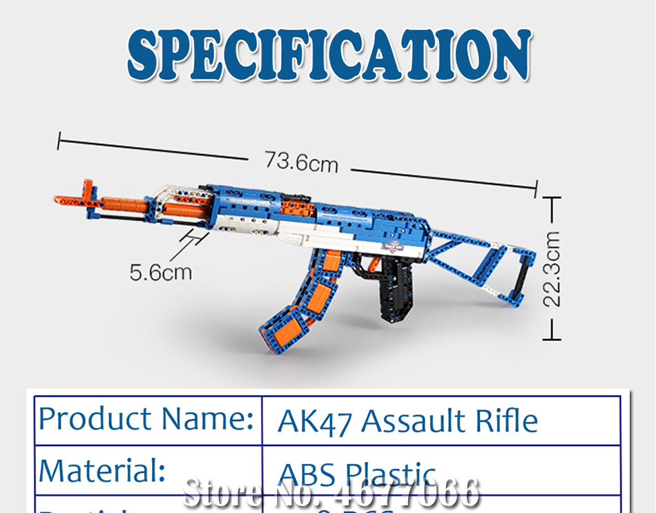 cada technic building blocks AK-47  gun  military legou toy bricks weapon set can fire  rubber band  toys for children boys kids 18