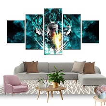 Canvas Painting Prints 5 Pieces Cartoon Dragon Ball Z Pictures Goku Ride Shenron Poster Wall Art Modular Home Decor Living Room dragon ride