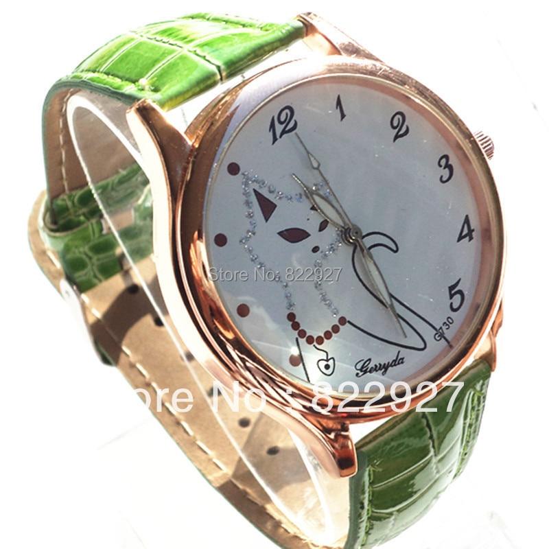 Gerryda 730 modes pulksteņu pulksteņi, lapsa attēls skapī, PVC ādas lente, apzeltīts korpuss ar kvarca kustību