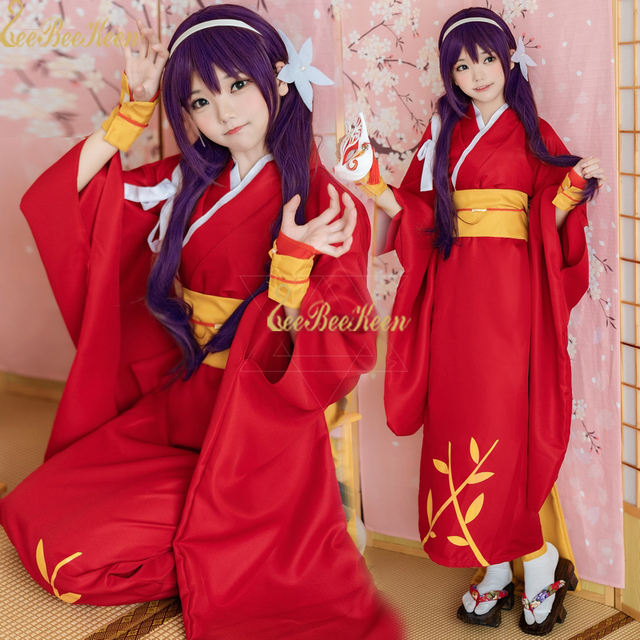 25325abfe63 Anime Cosplay Inuyasha Cosplay Costume Women Red Dress Japanese Kimono 6ps  For Halloween Christmas New Year Party suit For Adult