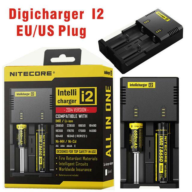Nitecore i2 para 16340 10440 aa aaa cargador de batería recargable 14500 18650 26650 batería cargador de la linterna del faro