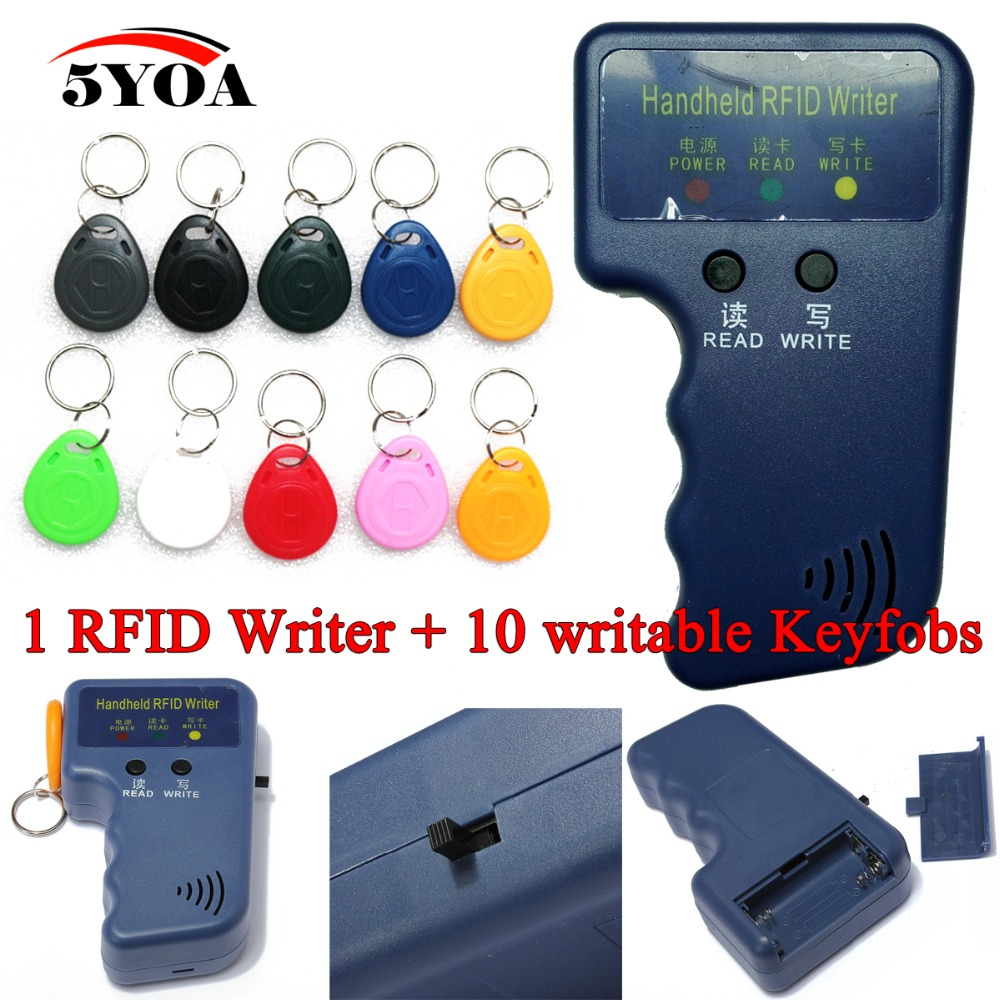 bilder für Handheld 125 KHz EM4100 RFID Copier Writer Duplizierer Programmer Reader + 10 EM4305 T5577 Wiederbeschreibbare ID Keyfobs Tags Karten