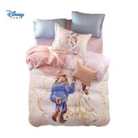 Beauty and the beast bedding set luxury cotton disney bed sheet set 3d pink girl princess duvet cover baby gift pillow case kid