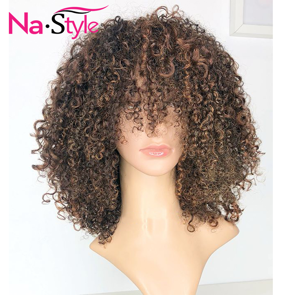 13x6 Afro Kinky Curly Wig Human Hair Ombre Lace Front Wig Pre Plucked 180% Colored Lace Front Wigs With Bangs Peruvian Hair Remy