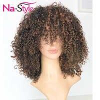 13x6 peluca rizada Afro cabello humano Ombre peluca frontal de encaje Pre desplumado pelucas frontales de encaje de color 180% con flequillo cabello peruano Remy