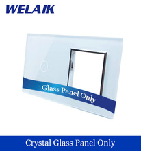 WELAIK  Touch Switch DIY Parts  Glass Panel Only of Wall Light Switch Black White Crystal Glass Panel Square hole  A2918W/B1