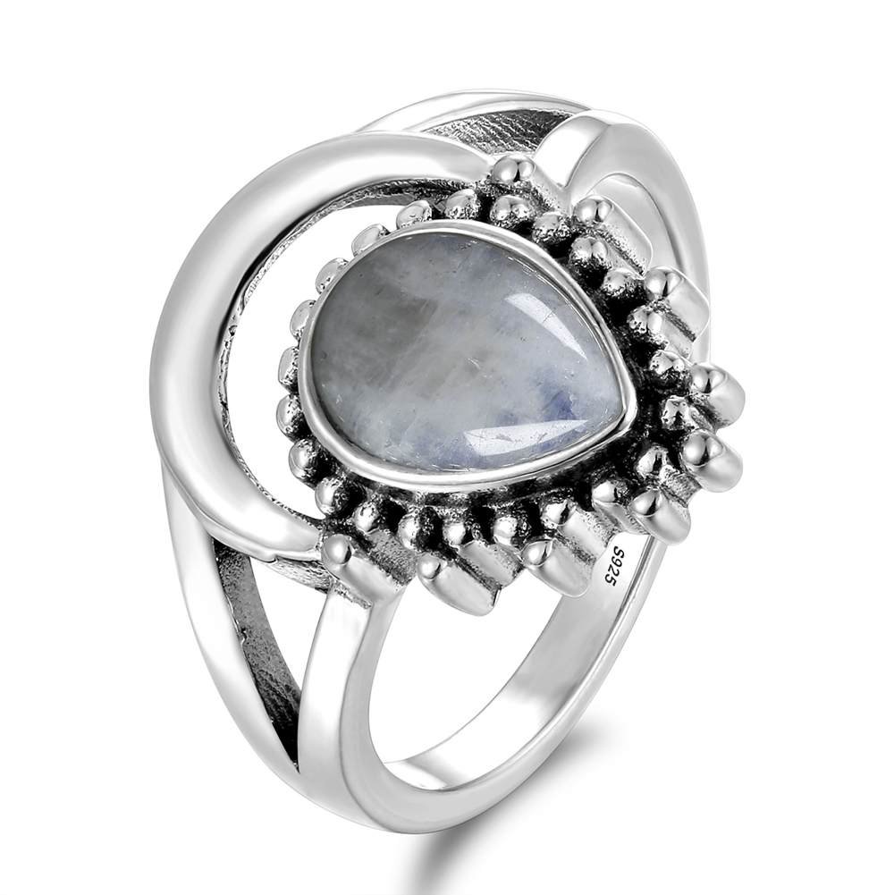 New Vintage 925 Silver Jewelry Finger Rings For Men Women 7x9MM Water Drop Natural Moonstones Weeding Anniversary Party Gifts