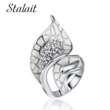 Geometric Flower Hollow Ring For Women Fashion Leaves Mosaic Rhinestone Silver Color Birthday Gift Bagues Pour Femme