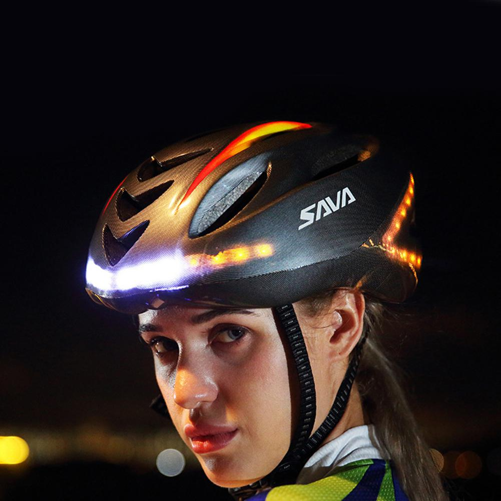 Cycling Smart Steering LED Helmet Mountain Bike Accessory USB Chargeable LED Light Helmet with Warning Tail Lights Night Riding