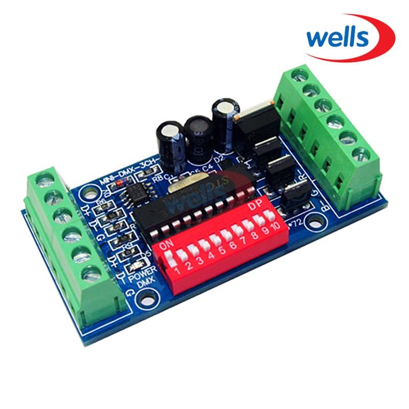 DMX512 mini 3CH LED vezérlő, RGB dmx512 dekóder, DC5V-24V, LED RGB - Világítási kiegészítők