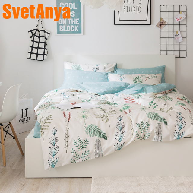 Svetanya Leaves Print Sheet Pillowcase and Duvet Cover Sets 100% Cotton Bedlinen Twin Double Queen King Size Bedding Set