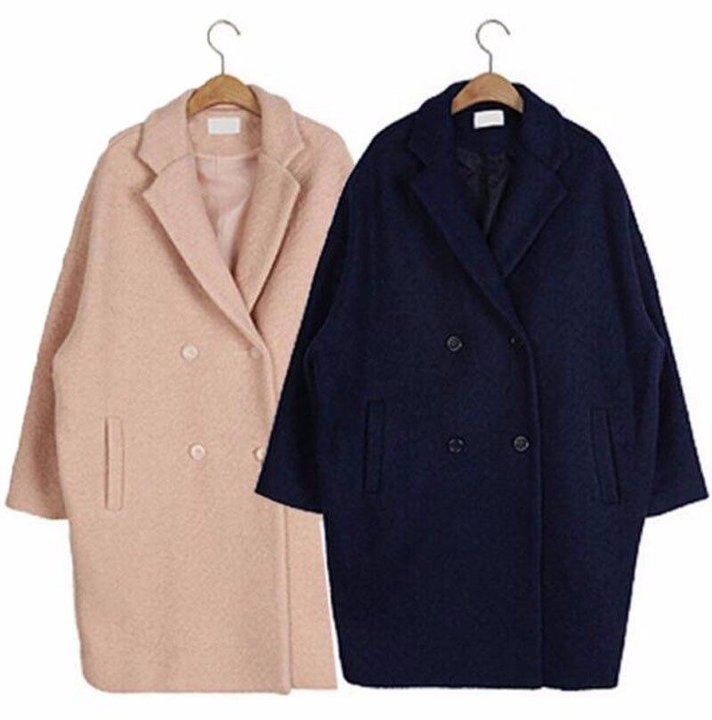 Manteau Chaud Manches Laine Long A1 Mode Qualité À navy Super Pink D'hiver Lâche Femmes Haute 2017 Nouvelle Moyen Longues De 7ZYpII
