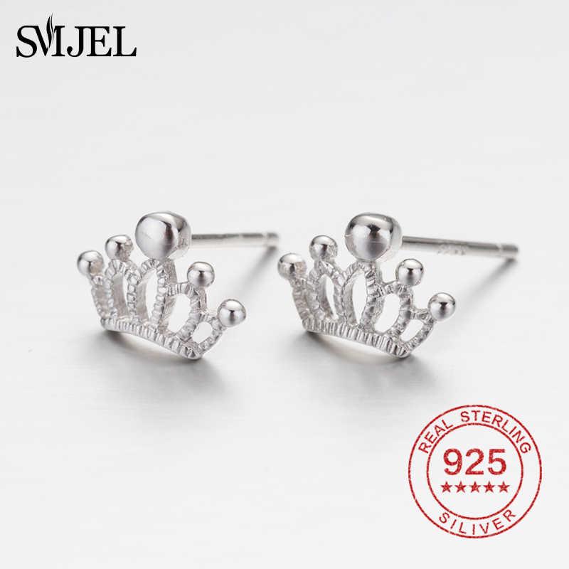 SMJEL สาวน่ารัก 925 เงินต่างหูสตั๊ดเจ้าหญิงน่ารัก Charm ผู้หญิงเครื่องประดับ Fine Nice ต่างหู Crown ขนาดเล็ก