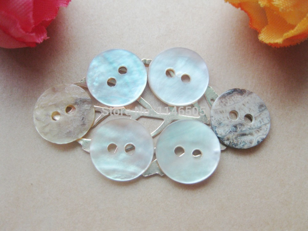 HOT!!! 200 pcs/lot 10mm natural White mother of pearl shell button with 2 holes shirt Sewing Buttons Scrapbooking
